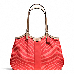 COACH F24022 Signature Stripe Zebra Print Devin Shoulder Bag SILVER/HOT ORANGE/TAN