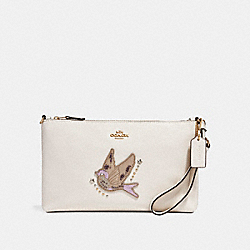 COACH F24043 - LARGE WRISTLET 25 WITH BIRD APPLIQUE LIGHT GOLD/CHALK