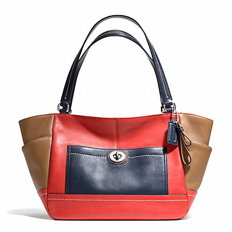 COACH f24065 PARK COLORBLOCK CARRIE SILVER/VERMILLION MULTICOLOR