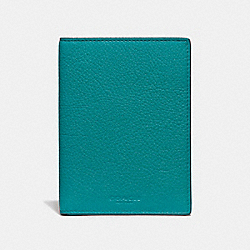 COACH F24080 - PASSPORT CASE DARK TEAL/GOLD