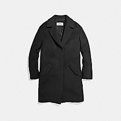 SOLID WOOL COAT - f24084 - BLACK