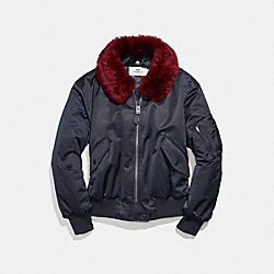 COACH F24086 - MA-1 JACKET WITH SHEARLING COLLAR NAVY