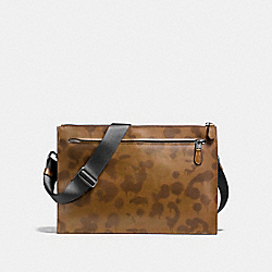MANHATTAN CONVERTIBLE SLIM MESSENGER WITH WILD BEAST PRINT - F24105 - SURPLUS/BLACK COPPER FINISH