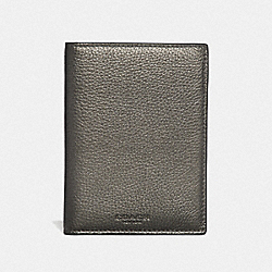 COACH F24187 - PASSPORT CASE GUNMETAL/SILVER