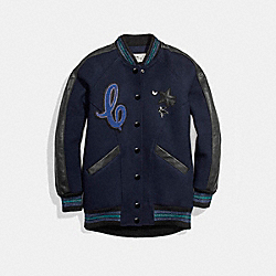 COACH F24192 Boyfriend Varsity Jacket NAVY/BLACK