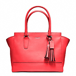 COACH F24201 Leather Medium Candace Carryall SILVER/BRIGHT CORAL