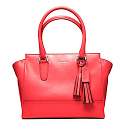 COACH F24202 Leather Candace Carryall SILVER/BRIGHT CORAL
