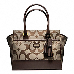 COACH F24203 - SIGNATURE MEDIUM CANDACE CARRYALL BRASS/KHAKI/MAHOGANY