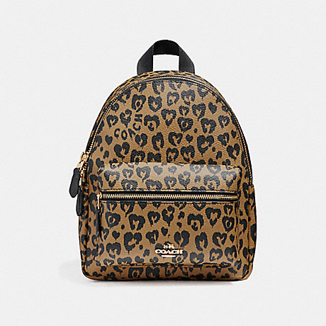 COACH f24208 MINI CHARLIE BACKPACK WITH WILD HEART PRINT LIGHT GOLD/NATURAL MULTI