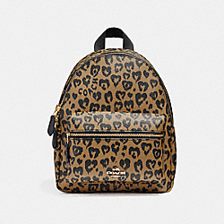 COACH MINI CHARLIE BACKPACK WITH WILD HEART PRINT - LIGHT GOLD/NATURAL MULTI - F24208