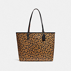 REVERSIBLE CITY TOTE WITH WILD HEART PRINT - f24209 - LIGHT GOLD/NATURAL MULTI