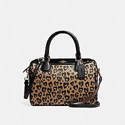 MINI BENNETT SATCHEL WITH WILD HEART PRINT - f24210 - LIGHT GOLD/NATURAL MULTI