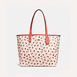 REVERSIBLE CITY TOTE WITH FRUIT PRINT - f24214 - SILVER/CHALK MULTI