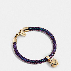 COACH F24259 Lucky Dice Rolled Leather Bracelets GOLD/FUSHIA/GRN HOLOGRAM