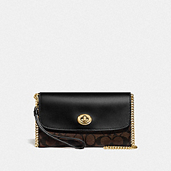 CHAIN CROSSBODY IN SIGNATURE CANVAS - F24280 - BROWN/BLACK/GOLD