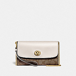 COACH F24280 Chain Crossbody In Signature Canvas KHAKI/CHALK/GOLD