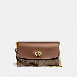 CHAIN CROSSBODY IN SIGNATURE CANVAS - F24280 - KHAKI/SADDLE 2/GOLD