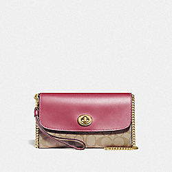 CHAIN CROSSBODY IN SIGNATURE CANVAS - F24280 - LIGHT KHAKI/ROUGE/GOLD