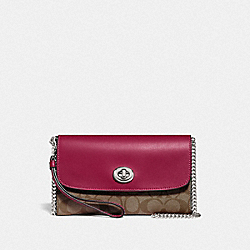 CHAIN CROSSBODY IN SIGNATURE CANVAS - F24280 - SV/KHAKI DARK FUCHSIA