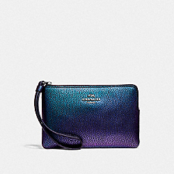 COACH F24284 Corner Zip Wristlet BLACK ANTIQUE NICKEL/HOLOGRAM