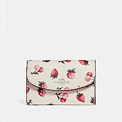 COACH F24285 Key Case With Fruit Print SILVER/CHALK MULTI