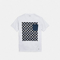 COACH F24296 Graphic Print T-shirt DUSK MULTI CHECKER