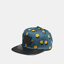 GRAPHIC PRINT FLAT BRIM HAT - f24298 - MUSTARD MULTI DOT