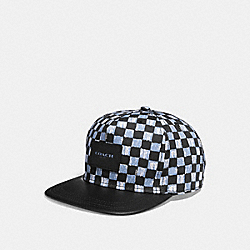 COACH F24298 Graphic Print Flat Brim Hat DUSK MULTI CHECKER