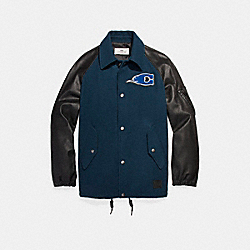 WOOL LEATHER VARSITY PATCHES COACH JACKET - f24299 - DENIM