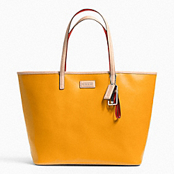 COACH F24341 - METRO SAFFIANO LEATHER TOTE SILVER/ORANGE SPICE