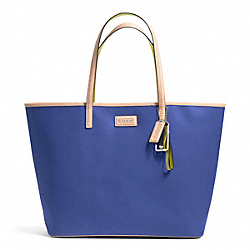 PARK METRO TOTE IN LEATHER - f24341 - SILVER/PORCELAIN BLUE