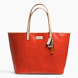 COACH F24341 - METRO SAFFIANO LEATHER TOTE SILVER/VERMILLION