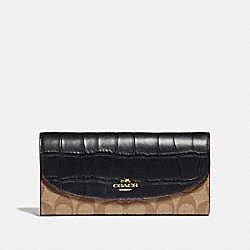 COACH F24354 Slim Envelope Wallet LIGHT GOLD/KHAKI