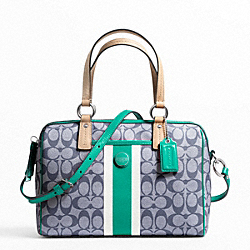 COACH F24362 Signature Stripe Pvc Stripe Satchel SILVER/NAVY/BRIGHT JADE