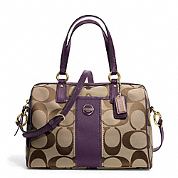 COACH F24364 Signature Stripe Satchel BRASS/KHAKI/PURPLE