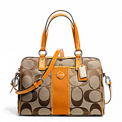 COACH F24364 - SIGNATURE STRIPE SATCHEL SILVER/KHAKI/ORANGE SPICE