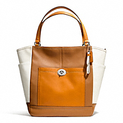 COACH F24391 - PARK COLORBLOCK NORTH/SOUTH TOTE SILVER/NATURAL MULTI