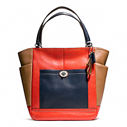 COACH F24391 Park Colorblock North/south Tote SILVER/VERMILLION MULTICOLOR