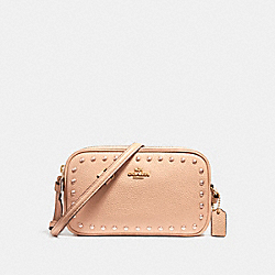CROSSBODY POUCH WITH LACQUER RIVETS - f24399 - IMITATION GOLD/NUDE PINK