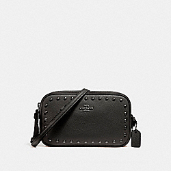 CROSSBODY POUCH WITH LACQUER RIVETS - f24399 - ANTIQUE NICKEL/BLACK