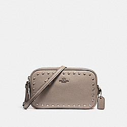 CROSSBODY POUCH WITH LACQUER RIVETS - f24399 - SILVER/FOG