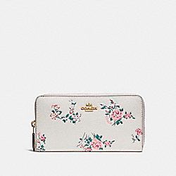 COACH F24412 Accordion Zip Wallet With Cross Stitch Floral Print LIGHT GOLD/CHALK MULTI