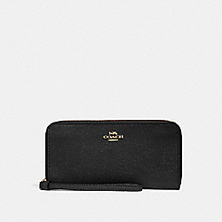 COACH F24413 Accordion Zip Wallet BLACK/LIGHT GOLD