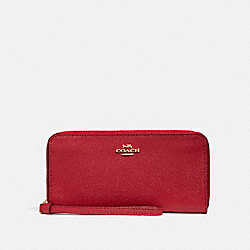 COACH F24413 Accordion Zip Wallet TRUE RED/LIGHT GOLD