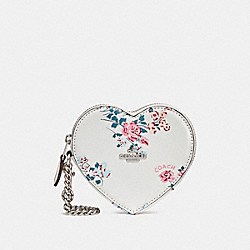 COACH F24430 Heart Coin Case With Cross Stitch Floral Print SILVER/CHALK MULTI