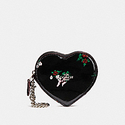 HEART COIN CASE WITH CROSS STITCH FLORAL PRINT - f24430 - SILVER/BLACK MULTI