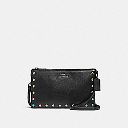 LYLA CROSSBODY WITH HOLOGRAM LACQUER RIVETS - f24467 - ANTIQUE NICKEL/BLACK