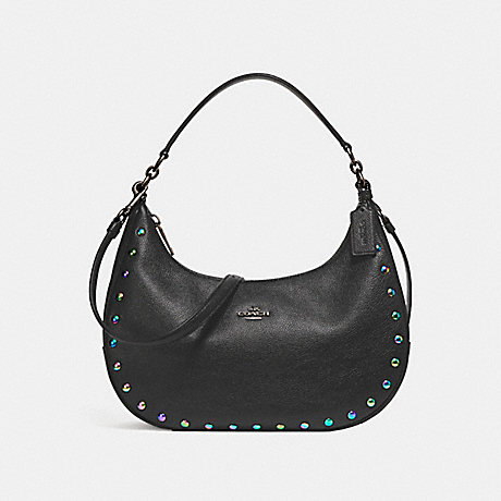 COACH f24468 EAST/WEST HARLEY HOBO WITH HOLOGRAM LACQUER RIVETS ANTIQUE NICKEL/BLACK
