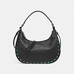 COACH F24468 - EAST/WEST HARLEY HOBO WITH HOLOGRAM LACQUER RIVETS ANTIQUE NICKEL/BLACK