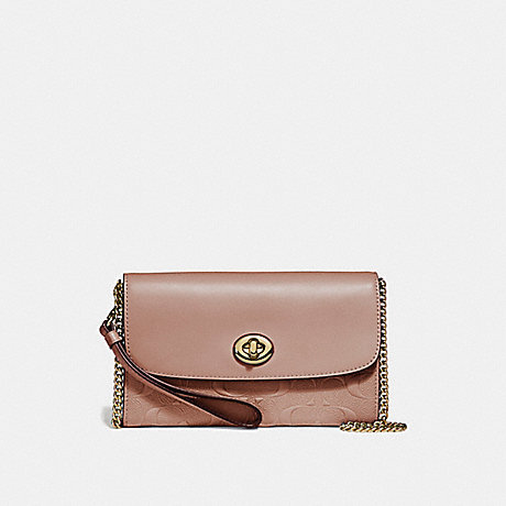 COACH f24469 CHAIN CROSSBODY IN SIGNATURE LEATHER NUDE PINK/LIGHT GOLD